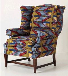 African fabric reupholstered chair