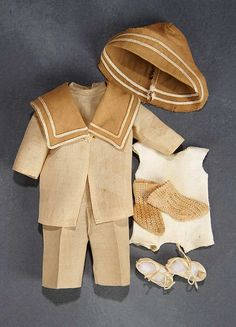 """What Finespun Threads"" - Antique Doll Costumes, 1840-1925 - March 12, 2017: 309.1 Boy's Middy Style Costume, Cap, and Shoes"