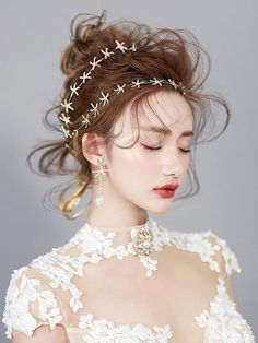 áo cưới ren hoa Beauty Makeup, Hair Makeup, Hair Beauty, Bridal Makeup, Wedding Makeup, Up Hairstyles, Wedding Hairstyles, Bridal Hairdo, Make Up Braut