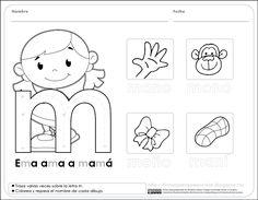 Fichas para preescolar: Reconocer características del sistema de escritura, fichas para preescolar.