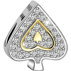 Long Way 925 Sterling Silver Love Heart Poker Ace Design Cubic... (66 BRL) ❤ liked on Polyvore featuring jewelry, pendants, beaded jewelry, charm jewelry, bead charms, charm pendants and cz charms