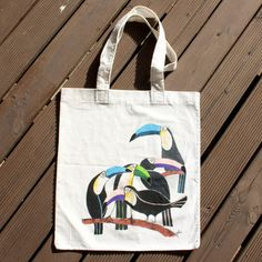 Tropical Touch Hand Painted Tote Bag by BerenicePaints on Etsy