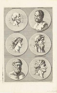 Zes munten met portretten van mannen uit de antieke: letter BL F, Richard Collin, 1675 - 1680