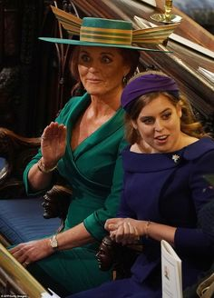 Sarah Duchess of York and Princess Beatrice of York attend the wedding of Princess Eugenie of York and Jack Brooksbank at St George's Chapel in Windsor Castle on October 2018 in Windsor, England.