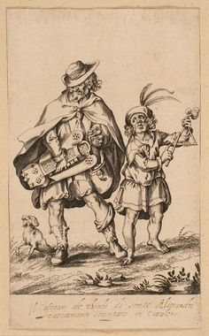 Triangle player and hurdy gurdy.  Bellange Jacques, Le concert grotesque (1595-1616), conservé à la Bibliothèque Nationale de France (Paris, France)