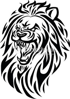 Vector Art : roaring lion head