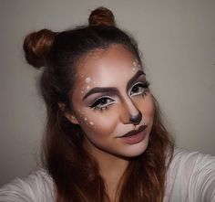 Pin for Later: 26 Adorably Chic Deer Makeup Halloween Costume Looks Bun antlers