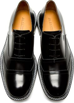 Jil Sander - Black Buff Leather Lace Up Shoes | SSENSE