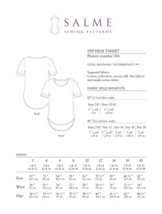 Dip Hem T-shirt - Salme Patterns