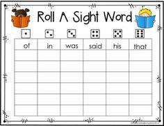 ROLL A SIGHT WORD EDITABLE!!! {FREEBIE} - TeachersPayTeachers.com