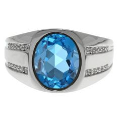 Oval-Cut Blue Topaz and Diamond Men's Ring In White Gold Available Exclusively at Gemologica.com