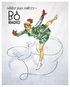 Bang & Olufsen poster from 1950 with Norwegian skate princess Sonja Henie. Travel Inspiration, Design Inspiration, Bang And Olufsen, Danish Design, Vintage Posters, Retro Posters, Album Covers, Denmark, Pin Up