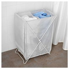 IKEA - TORKIS, Laundry basket, The two separate compartments help you to sort and organize your laundry.The laundry bag does not absorb moisture or odors from the laundry because it is made of polyester.Takes little room to store as it folds flat. Ikea Laundry, Laundry Area, Laundry Hamper, Bathroom Box, Bathroom Baskets, Interior Ikea, Brimnes, Clothes Drying Racks, Gray