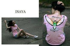 "fashion look, bird, colletion ""INAYA design"" , art t-shirt, drawing"