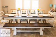 Solid pine wood, trestle style farmhouse dining table with matching bench. This particular table is pictured at an impressive 9 long and 45 wide. This is a custom built piece and is built from scratch for each customer. This allows everything (wood species, stain, paint, antiquing,
