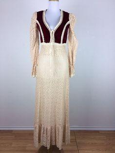 Distressed Vintage 1970s Dress Gunne Sax Red Bib Cream Lace Velvet Maxi Size S #GunneSax #Maxi