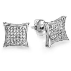 0.25 Carat (ctw) Platinum Plated Sterling Silver White Real Diamond Kite Shape Mens Hip Hop Iced Stud Earrings 1/4 CT DazzlingRock Collection. $99.00. Diamond Weight : 0.25 ct tw.. Crafted in 925 Sterling Silver. Diamond Color / Clarity : I-J / I2-I3. Weighs approximately 1.80 grams. Gemstone : Diamond