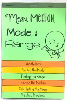 Measures of Center (Mean, Median, & Mode) and Range Flip Book 7th Grade Math Worksheets, 6th Grade Activities, Chemistry Worksheets, Teaching 5th Grade, Teaching Chemistry, Free Math Worksheets, 5th Grade Math, Teaching Math, Sixth Grade
