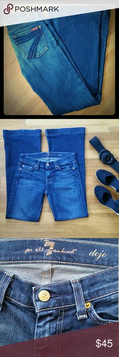 """7 For All Mankind """"dojo"""" Flare Jeans EUC Size 25 7 For All Mankind """"dojo"""" flare/wide leg jeans. Worn lightly but still in excellent condition!!! Medium to dark blue, 30"""" inseam 7 for all Mankind Jeans Flare & Wide Leg"""