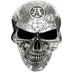 """Omega Skull belt buckle by Alchemy Gothic, engraved and etched with mystical alchemical symbols and the trademark Alchemist's """"A""""."""
