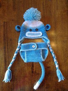 Newborn Crochet Blue Sock Monkey Hat and Diaper Cover. $27.00, via Etsy.