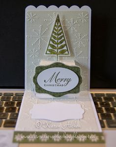 Altered Scrapbooking: Snowflakes and Greens Pop 'n Cut Card