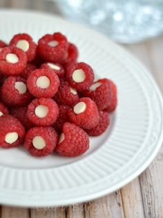 This simple little treat of Raspberries with White Chocolate Chips inside are perfect for a Valentine's Day party or even just an afternoon snack.
