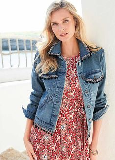 This funky denim jacket is great for layering in the spring. The pom pom trim detail gives it that extra special look. Holiday Fashion, Holiday Style, Apostolic Fashion, Pom Pom Trim, Fashion Beauty, Vest, Style Inspiration, Denim, Jackets
