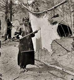 Ho-Chunk Woman Tanning a Buckskin. Photographed by Henry Hamilton Bennett (1843-1908)