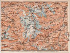 Interlaken Oberhasli Switzerland 1907 Antique Map by Craftissimo, €11.95