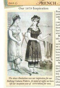 1879 bathing costume based on FFDR pattern inspiration and vintage line art