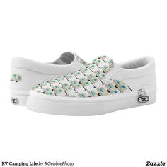 RV Camping Life Slip-On Sneakers - $90.90 - RV Camping Life Slip-On Sneakers - by #RGebbiePhoto @ #zazzle - #Camping #Trailer #RV - Slip some style on your feet! Everywhere I go is Home! RV Life, for when you'd rather be Camping. Cute illustrated pull behind RV travel trailer. Small camper style recreational vehicle, great for vacations, staycations, and other fun weekend trips.