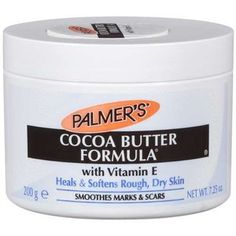 PALMER'S COCOA BUTTER FORMULA CREAM. This tried and true miracle cream smells like honey and vanilla plus has great healing/ soothing powers. Very economical, it comes in a huge jar with a thick formula that will last long. Use it for dry face, elbows, feet, hands, scars, burns, etc. You can't go wrong. $6.67 at Walmart.