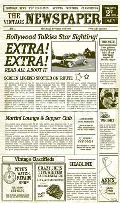 Editable old newspaper template - One of a number of nice templates ...