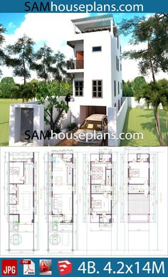 House Plans with 4 Bedrooms - Sam House Plans Narrow House Plans, Lake House Plans, Family House Plans, House Floor Plans, 3 Storey House Design, Small House Design, Home Stairs Design, Home Design Plans, Model House Plan