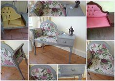 Revamped Telephone Seat - Painted with Annie Sloan French Linen Chalk Paint and recovered with Nina Campbell Zembla fabric