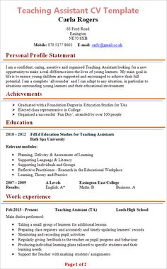 Teaching Assistant Resume Example Unforgettable Assistant Teacher Resume Examples To Stand Out, Teaching Assistant Cv Sample Teacher Cv Example School Children, Teaching Assistant Resume Exolgbabogadosco, Basic Resume Examples, Professional Resume Examples, Resume Ideas, Resume Layout, Resume Format, Resume Tips, Cv For Teaching, Elementary Teacher Resume, Teacher Resumes