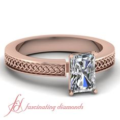 Radiant Cut Diamond 14K Rose Gold Solitaire Engagement Ring in Prong Setting || Weaved Ring