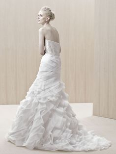 A Line strapless wedding dresses with court train ruffle
