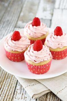Gluten Free Vegan Raspberry Vanilla Cupcakes. Fluffy vanilla cupcake, topped…