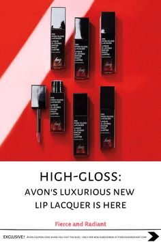 Searching for an amazing new lip lacquer with a high-shine gloss finish? Avon's new FMG High-Gloss Lacquer is designed for a vivid color payoff with a nourishing blend of 7 essential oils. Available in 6 shades: Pink of Me, Plum Candy, Rose Happening, Coral Moment, Red Symphony, & Frozen Beige. Learn more! ~ EXCLUSIVE Avon coupon code when you visit the blog ~ Save money with my exclusive discount - only for new subscribers! ~ #liplacquer #lipgloss #liquidlipstick #boldlip #avonmakeup Best Lip Gloss, Calendula Oil, Lip Lacquer, Bold Lips, Laque, Flower Oil, Sweet Almond Oil, Lavender Oil, Seed Oil