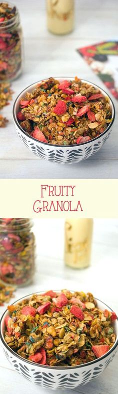 Kick boring granola up a notch with Fruity Pebbles and strawberries. Bright colors and fruity flavors make this fruity granola the perfect hostess gift. Snack Mix Recipes, Brunch Recipes, Breakfast Recipes, Snack Mixes, Breakfast Ideas, Heart Healthy Recipes, Real Food Recipes, Easy Recipes, Savory Snacks
