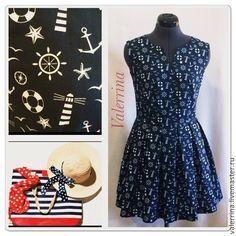 """Купить Платье """"Море"""" - тёмно-синий, рисунок, лето, морская тема, платье летнее"""