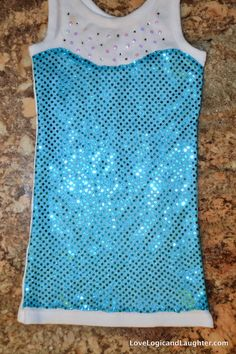 Queen Elsa Tank Top Tutorial - Princess Play Clothes - Super Simple Queen Elsa Tank Top - Sewing DIY - Just pair with turquoise shorts of skirt to complete the outfit!