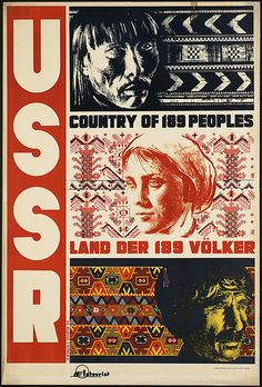 "Vintage travel poster or ad for the USSR, ""country of 189 peoples."" #poster #travel #USSR"