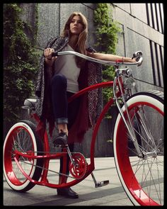 The color of her.. bike! #ruby #red #custom #bicycle #luisvuitton  #lv  #cute #ukrainian  #model #blonde #ootd #fashion #design