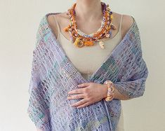 Purple rustic necklace OOAK fiber jewelry knitted by rRradionica