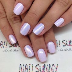 Nails. Pale Lavender. Holographic