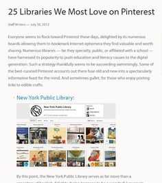 """25 Libraries We Most Love on Pinterest"" - oedb.org, 2012."