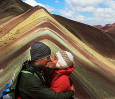 """Federico and Annalisa at Rainbow Mountain """"Thank you very much for the great organisation of our 23 day trip in Peru and Bolivia! We really had an unforgettable trip. Peru Travel, Bolivia, Day Trip, Mountain, Rainbow, Love, Couple Photos, Painting, World"""